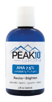 AHA 7.5% exfoliating fruit gel Revive + Brighten 4oz. Glycolic, Pyruvic and Lactic acids all contribute to this deep penetrating and fast acting formula. Exfoliation of the skin is essential in alleviating the dull and aged appearance of dead skin.