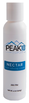 PEAK 10 SKIN NECTAR neck refining cream 4oz. With squalane and hyaluronic acid as a base this cream will work by improving both the elastic resilience and hydration. Redefines your skins surface texture. Moisturizes and revitalizes the skin.