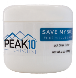 PEAK 10 SKIN SAVE MY SOLE foot rescue cream 4oz. Prevents hard skin or calluses from forming. Cools and moisturizes. Soothes and invigorates the skin. Helps repair dry, cracked and damaged feet.