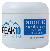 PEAK 10 SKIN SOOTHE HAND CREAM with 25% shea butter 4oz. Soothes and protects the skin. Helps repair dry or cracked hands. Non-greasy, absorbs quickly. Contains grapefruit oil extract which is rich in antioxidants.